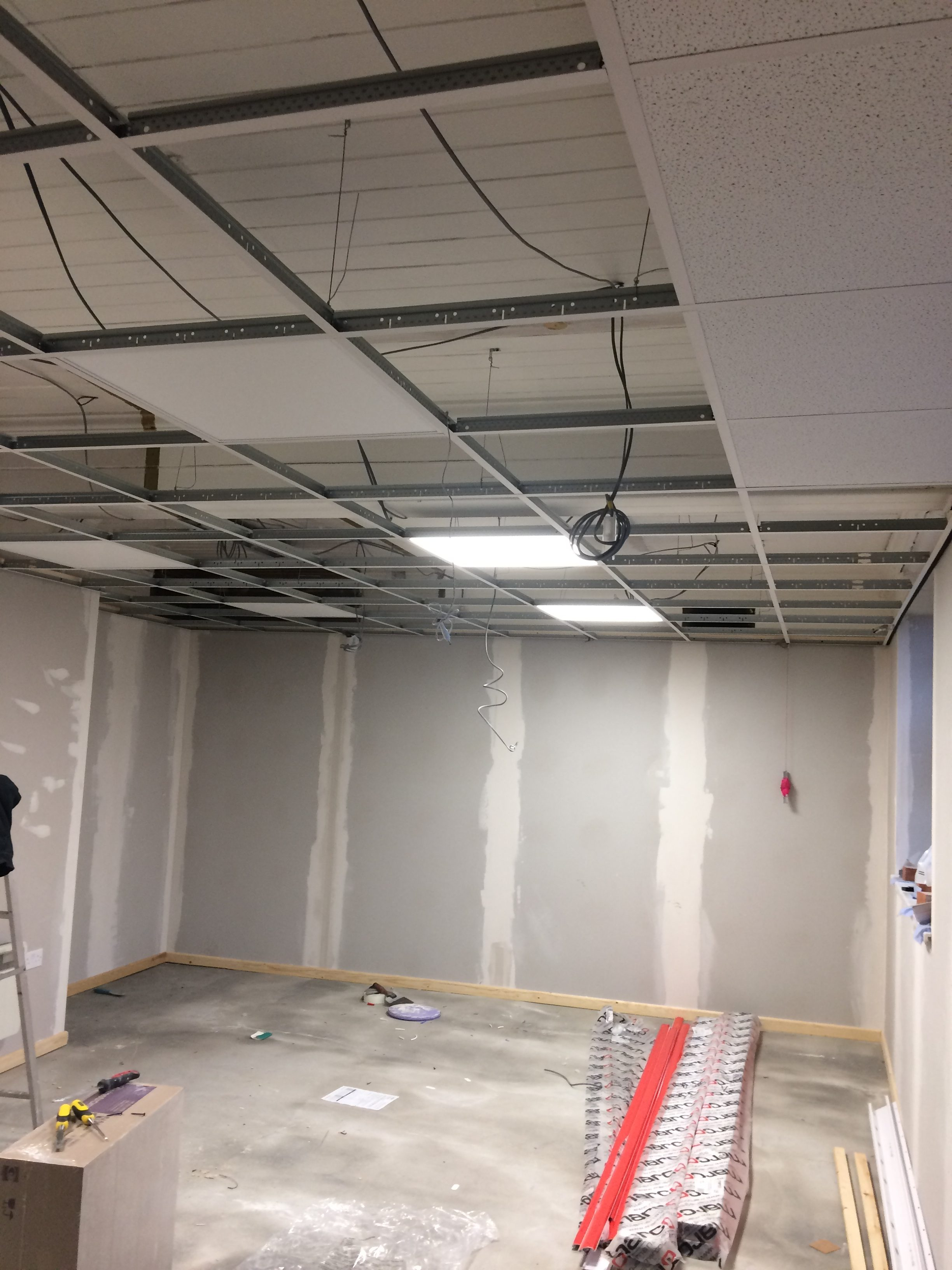 Installation of office ceiling lighting