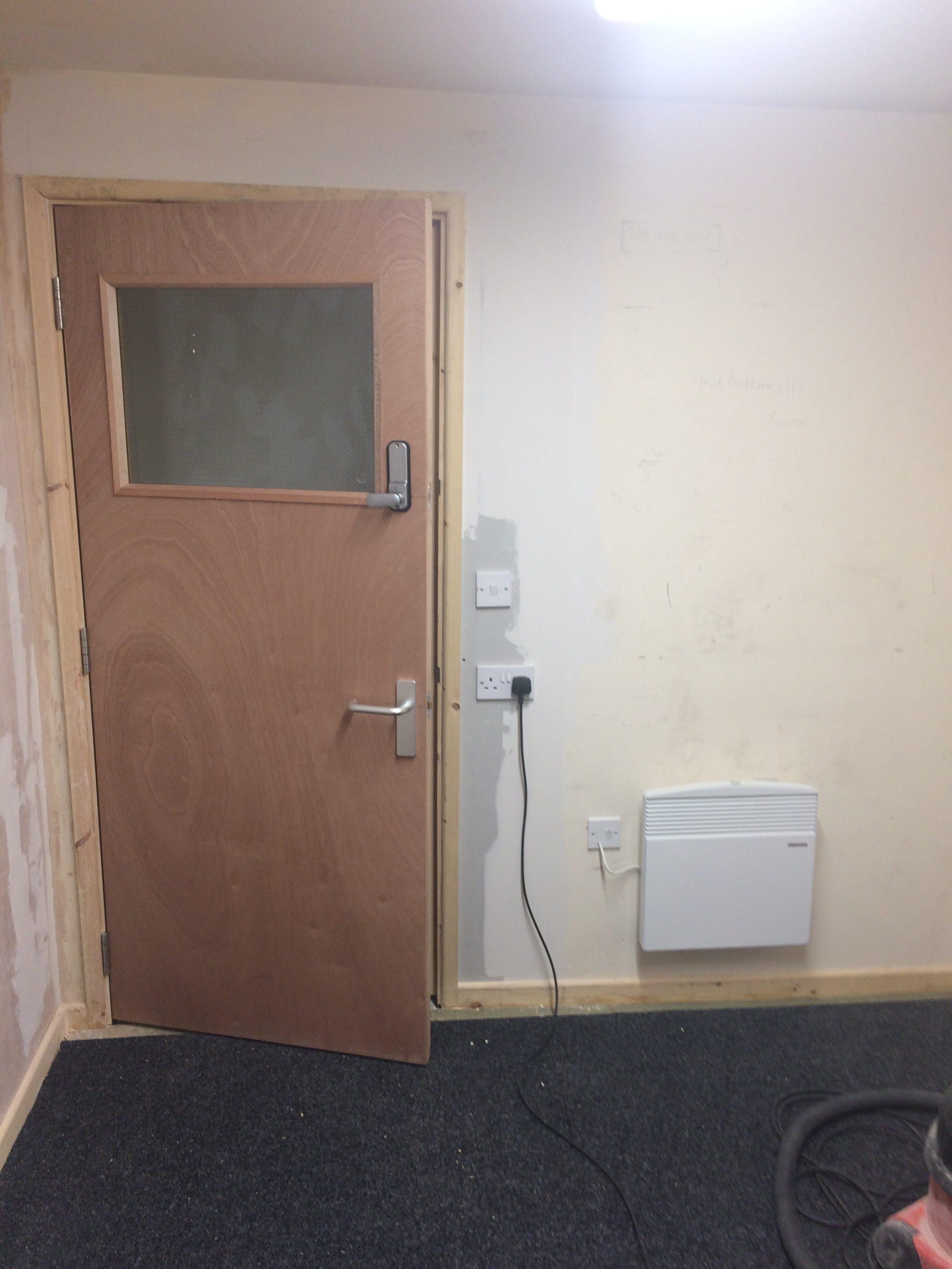 Door frame build and installation of coded door