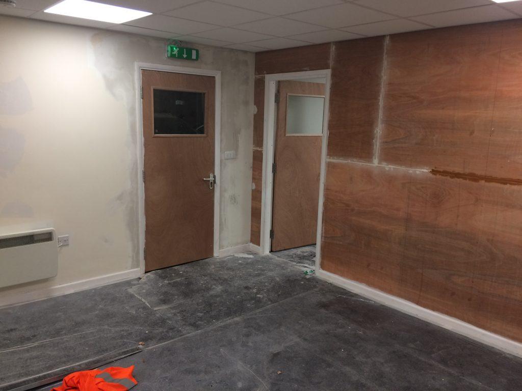 Office refurbishment, boarding in preparation for plastering